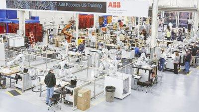 abb arc welder factory / indoor lighting