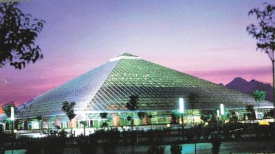 glass pyramid sabanci congress center - external lighting