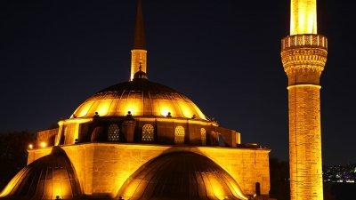 karaburun mosque outside lighting